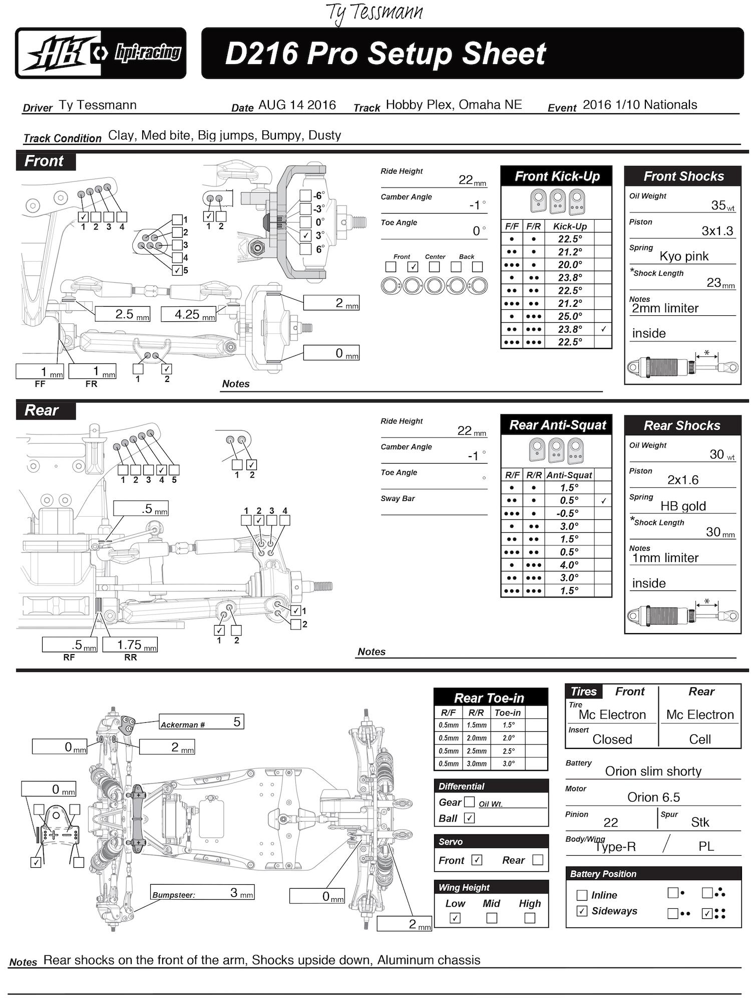 HB Racing News :: HB Racing D413 & D216 Setup Sheets: 2016