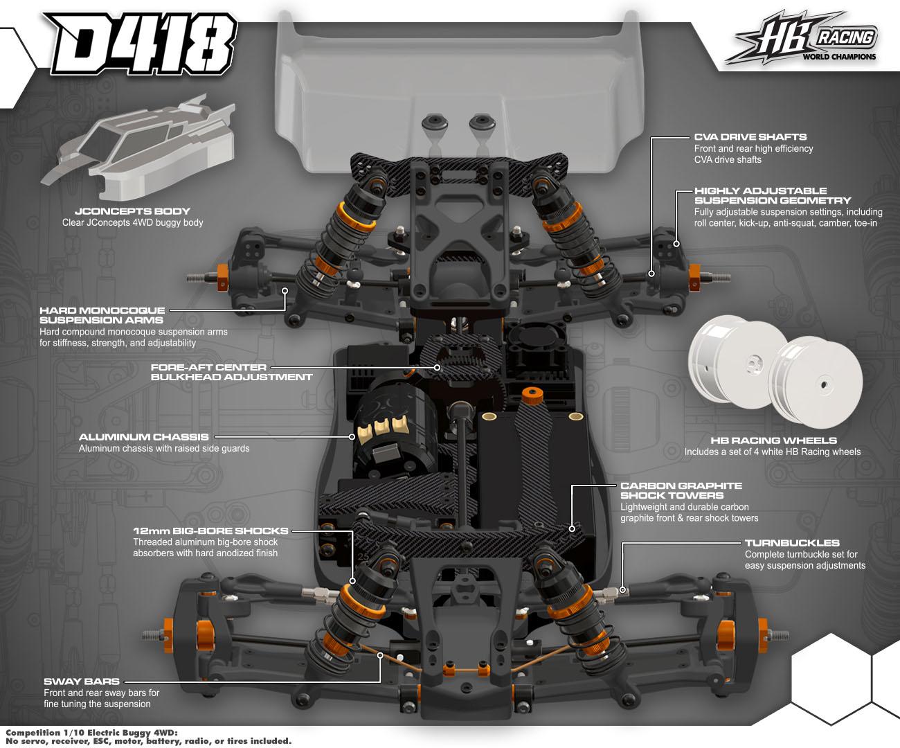 HB Racing D418 1/10 4WD Off-Road Buggy | HB Racing